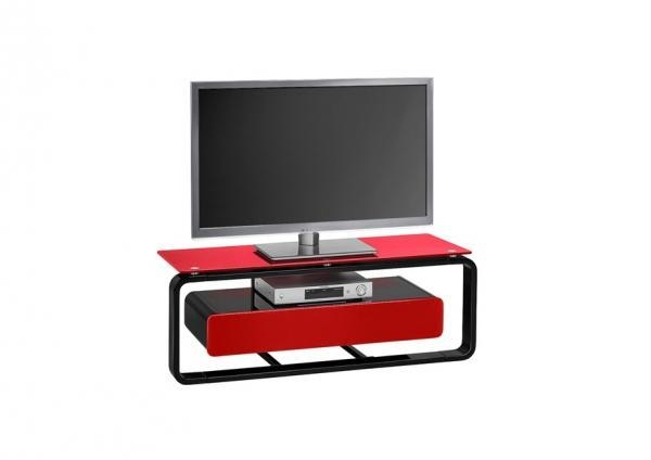 Maja, Modern 110 Cm Tv Stand With A Drawer In Coloured Glass/black With Most Up To Date Black And Red Tv Stands (Image 14 of 20)