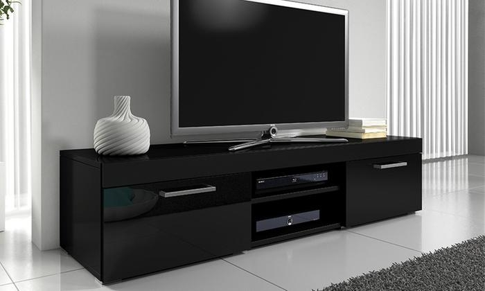 Mambo Gloss Tv Cabinet | Groupon Within 2018 Black Gloss Tv Bench (Image 7 of 20)