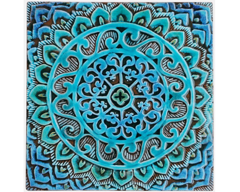 Mandala Wall Hanging Made From Ceramic Exterior Wall Art Regarding Italian Ceramic Outdoor Wall Art (Image 14 of 20)