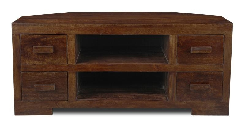 Mango Dark 4 Drawer Corner Tv Unit | Wooden Tv Units Within Newest Dark Wood Corner Tv Cabinets (Image 16 of 20)