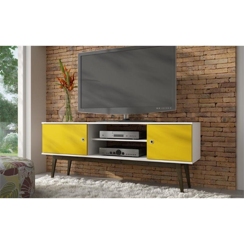 Manhattan Comfort Salem Splayed Leg Tv Stand In White And Yellow Pertaining To Best And Newest Yellow Tv Stands (View 5 of 20)