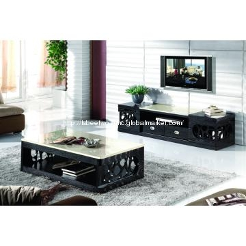 Marble Top Coffee Table & Tv Cabinet Living Room Furniture Set Inside 2018 Tv Stand Coffee Table Sets (Image 12 of 20)