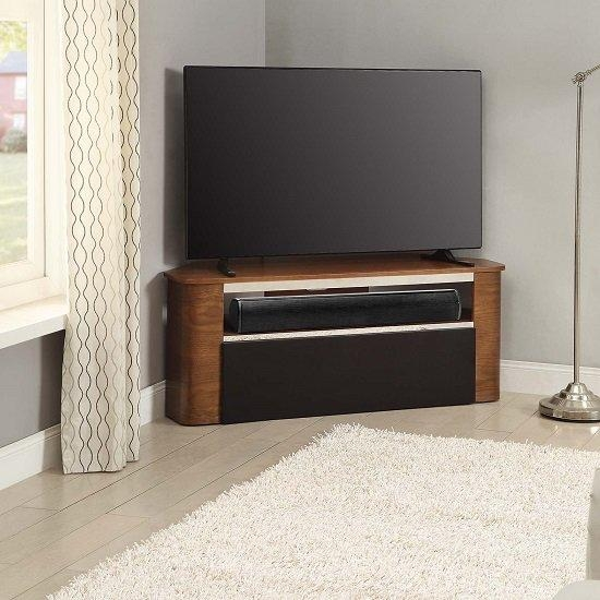 Marin Wooden Corner Acoustic Tv Stand In Walnut 28165 For Most Current Corner Tv Stands (Image 16 of 20)