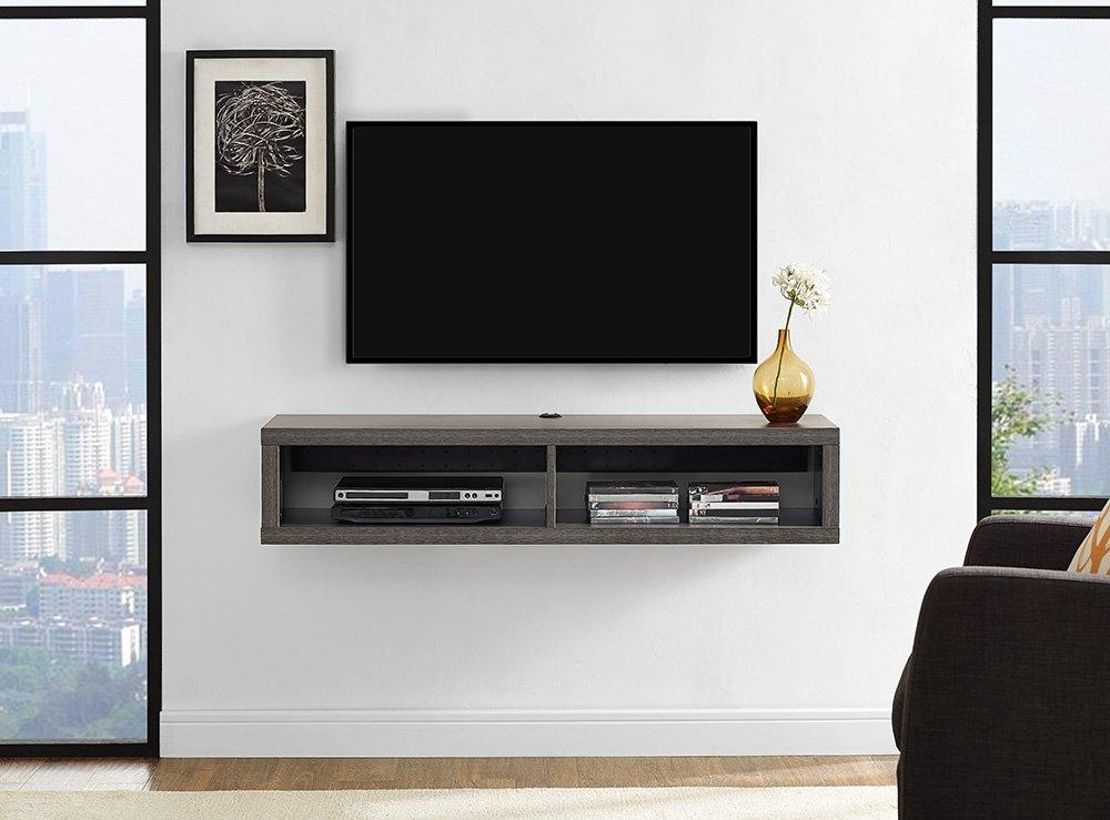 "Martin Home Furnishings 48"" Shallow Wall Mounted Tv Component Throughout Most Popular Shelves For Tvs On The Wall (Image 13 of 20)"