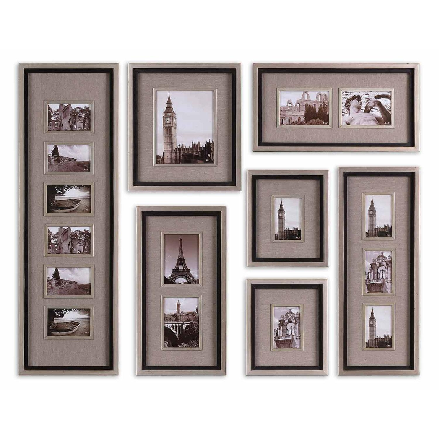 Massena Photo Collage, Set Of Seven Uttermost Photo Frames Home Throughout Family Wall Art Picture Frames (Image 12 of 20)
