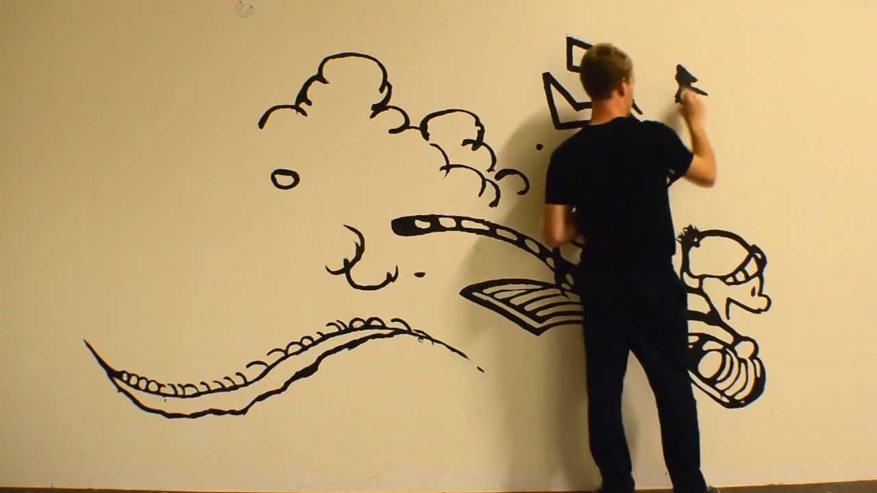 Massive Calvin And Hobbes Time Lapse Painting – Youtube In Calvin And Hobbes Wall Art (Image 16 of 20)