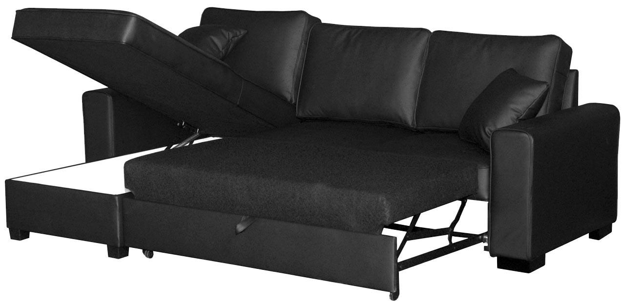 Maxim Corner Sofa Bed Faux Leather – Leather Sofas Pertaining To Large Black Leather Corner Sofas (Image 19 of 22)