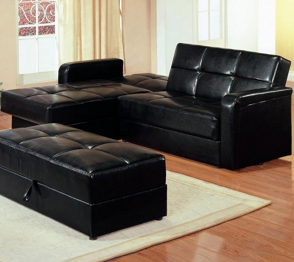 Maximizing Small Living Room Spaces With American Black Leather Throughout Black Leather Sectional Sleeper Sofas (Image 12 of 21)