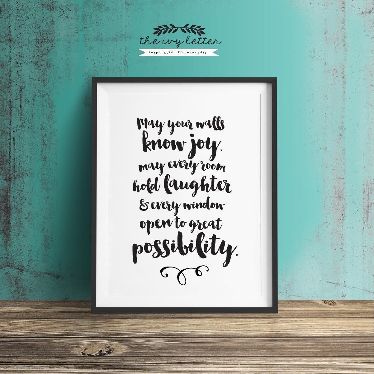 May Your Walls Know Joy Printable Wall Art Quotes Within Printable Wall Art Quotes (View 6 of 20)