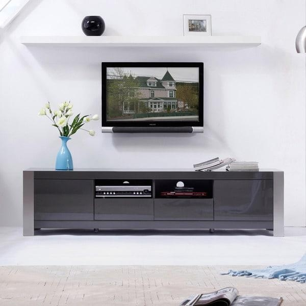 Maya' Grey High Gloss Stainless Steel Tv Stand – Free Shipping For Newest Grey Tv Stands (View 14 of 20)