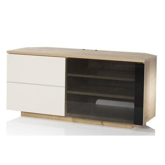 Mayfair Corner Tv Cabinet In Oak And Cream Gloss With 2 Pertaining To Recent Cream Gloss Tv Stands (Image 11 of 20)