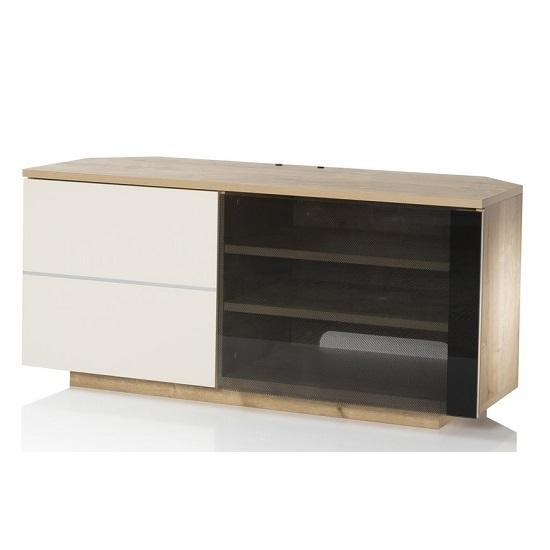 Mayfair Corner Tv Cabinet In Oak And Cream Gloss With 2 Throughout Newest Cream Tv Cabinets (Image 16 of 20)