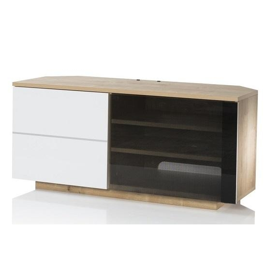 Mayfair Corner Tv Cabinet In Oak And White Gloss With 2 Throughout Newest Oak Corner Tv Cabinets (Image 10 of 20)