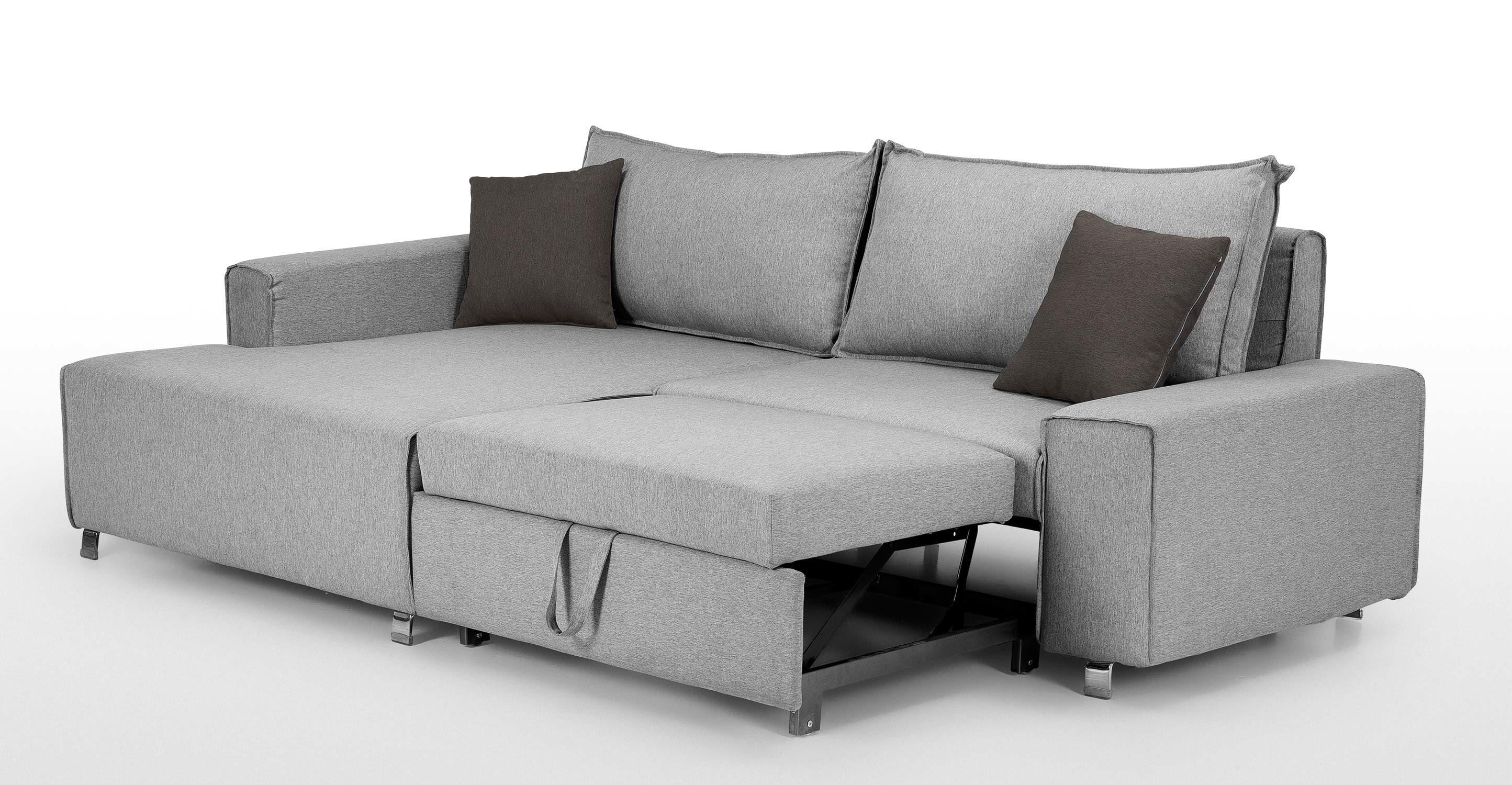 Mayne Left Hand Facing Corner Sofa Bed, Clear Grey Stone | Made Within Sofa Corner Units (View 24 of 24)
