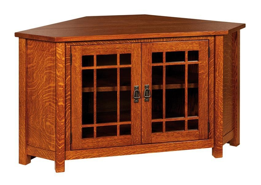 Mccoy Mission Corner Tv Cabinet in Best and Newest Wood Corner Tv Cabinets