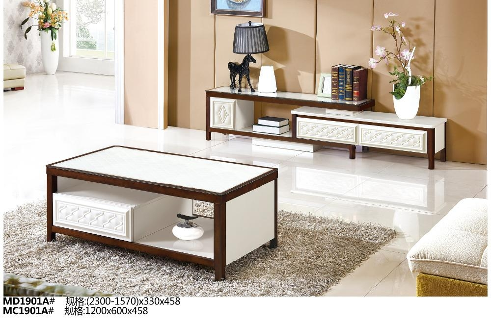 Md1901A Mc1901A Modern Living Room Furniture Set Tea Table & Tv Pertaining To 2018 Wood Tv Stand With Glass Top (Image 9 of 20)