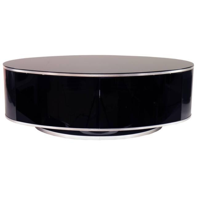 Mda Designs Luna Remote Friendly Beam Thru Glass Gloss Black Oval Pertaining To Best And Newest Beam Thru Tv Cabinet (Image 15 of 20)