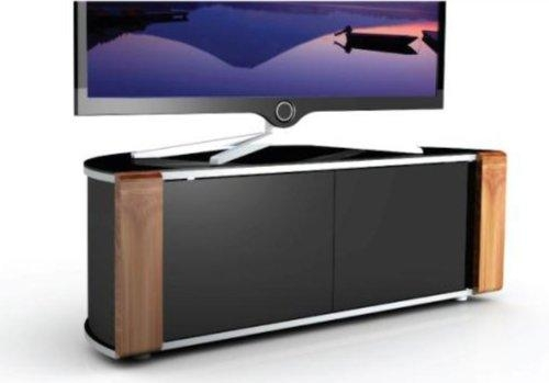 Mda Designs Sirius 850 Remote Friendly Beam Thru Glass Door Walnut For Most Recent Beam Thru Tv Cabinet (Image 16 of 20)