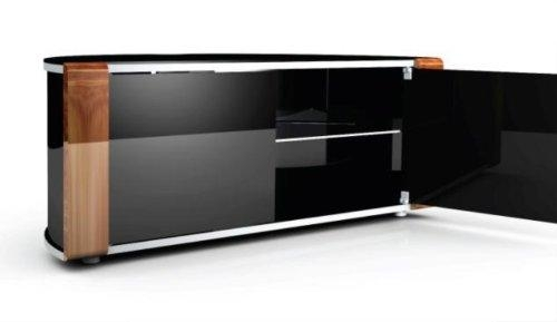 Mda Designs Sirius 850 Remote Friendly Beam Thru Glass Door Walnut Within Recent Beam Thru Tv Cabinet (Image 17 of 20)