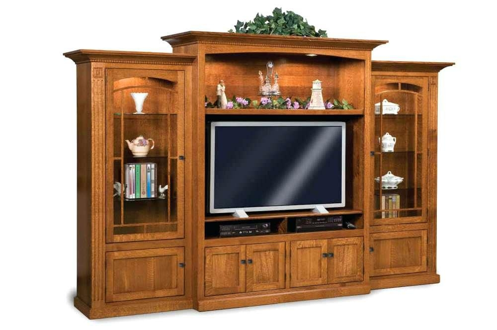 Media Center Furniture Solid Wood Corner Tv Stand Oak For Newest Light
