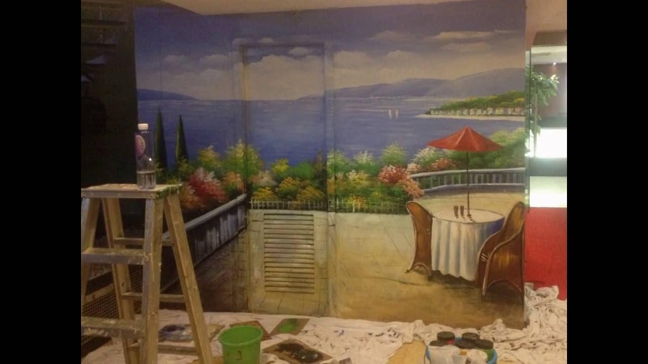 Mediterranean Italian Landscapes Wall Murals Hand Painted – Youtube With Italian Art Wall Murals (View 9 of 20)