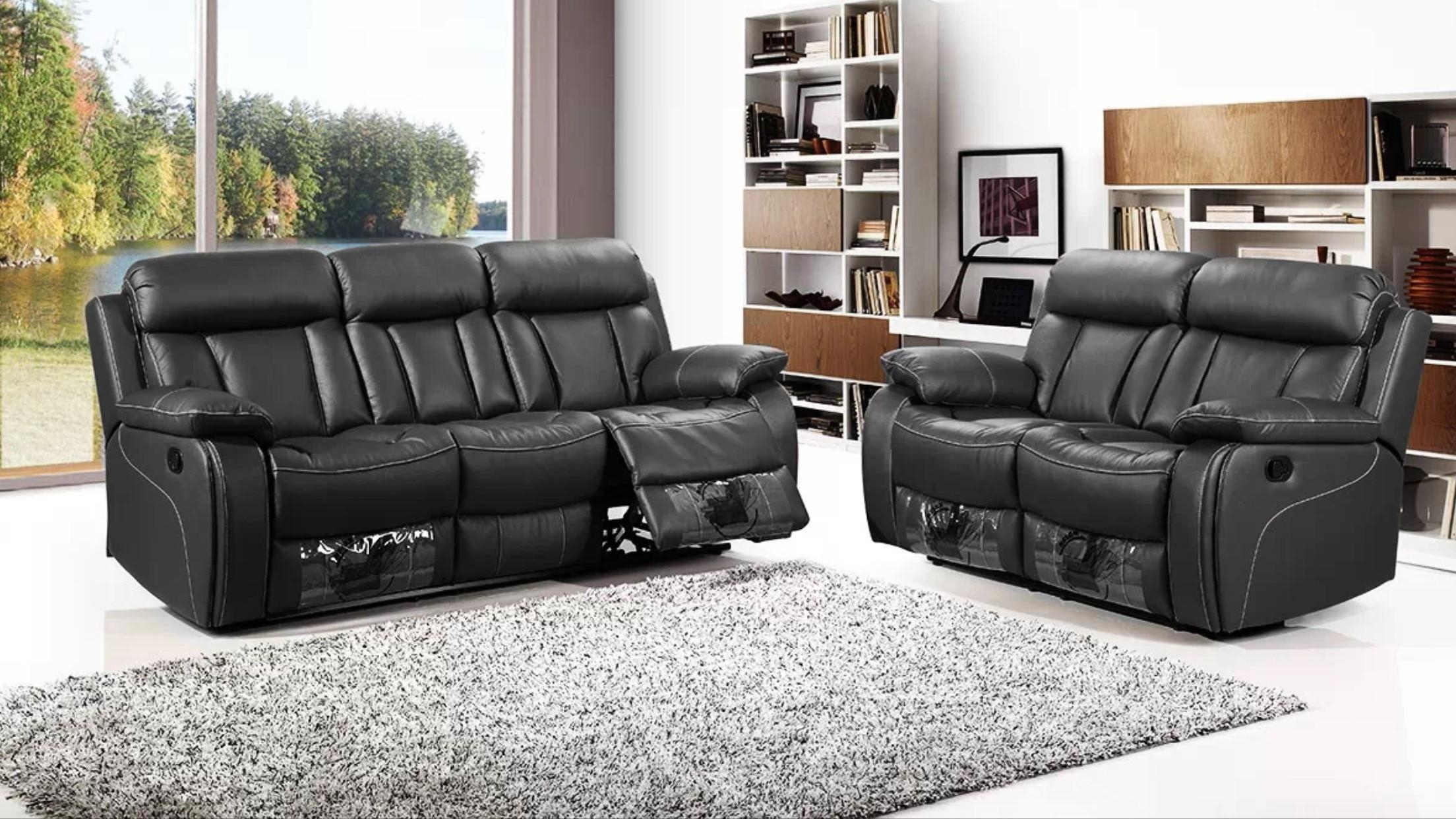 Memphis Black 3 Seater Recliner Sofa And Free Matching 2 Seater Inside 3 Seater Sofas For Sale (View 20 of 21)