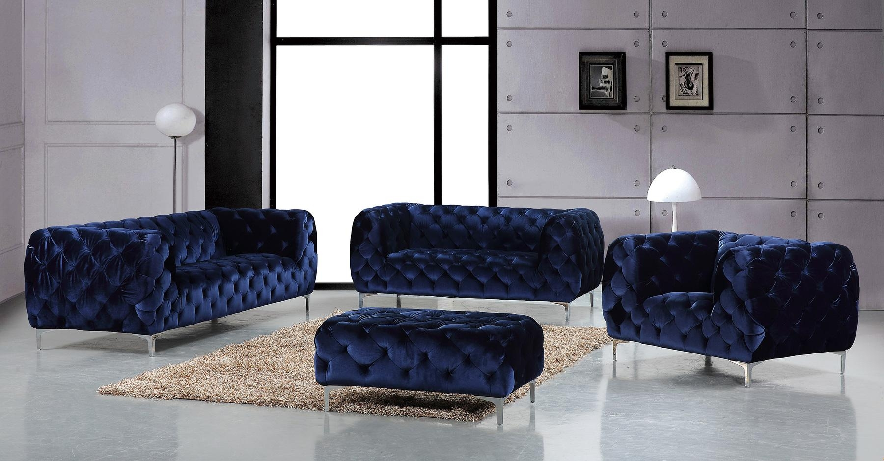 Mercer Navy Sofa 646 Meridian Furniture Fabric Sofas At Comfyco Pertaining To Black Velvet Sofas (Image 9 of 20)