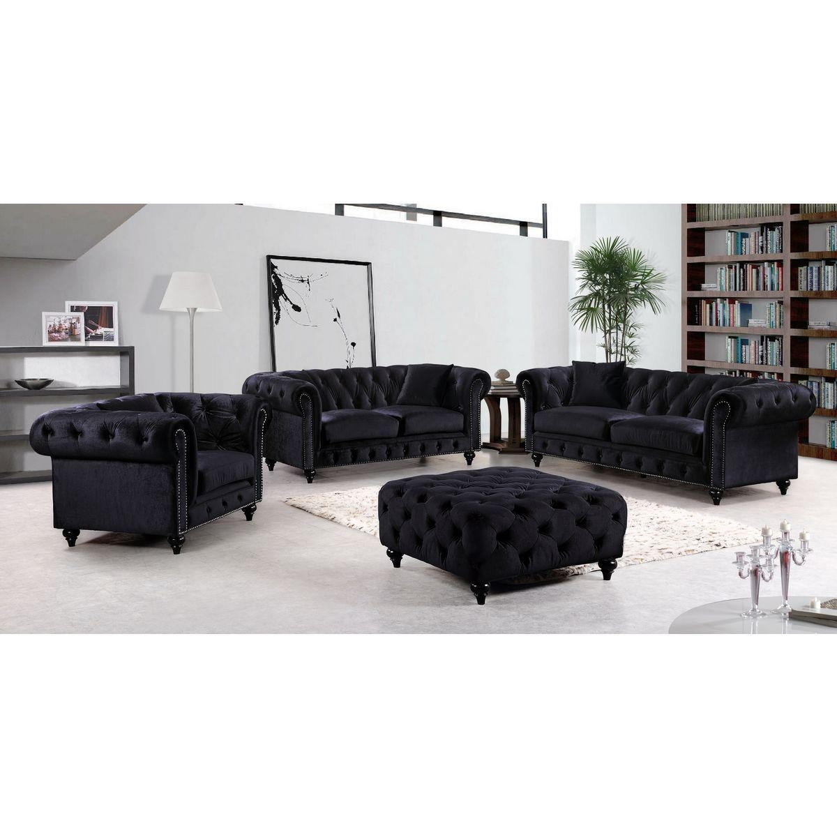 Meridian Furniture 662Bl S Chesterfield Tufted Black Velvet Sofa W Pertaining To Black Velvet Sofas (Image 10 of 20)