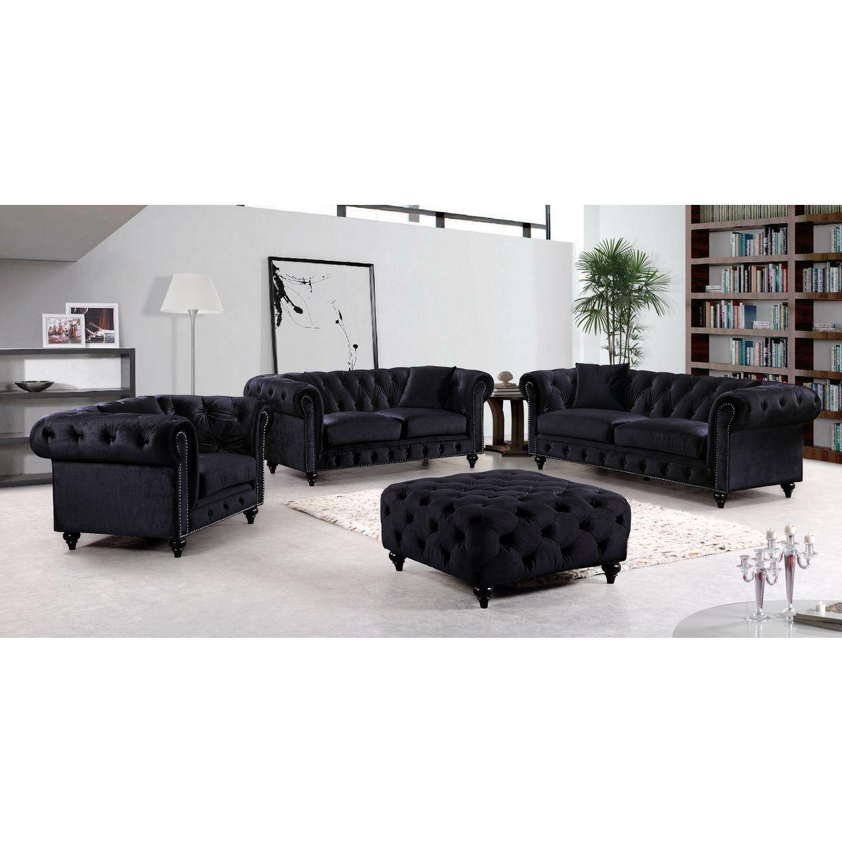 Meridian Furniture 662Bl S Chesterfield Tufted Black Velvet Sofa W Pertaining To Black Velvet Sofas (Image 10 of 20)