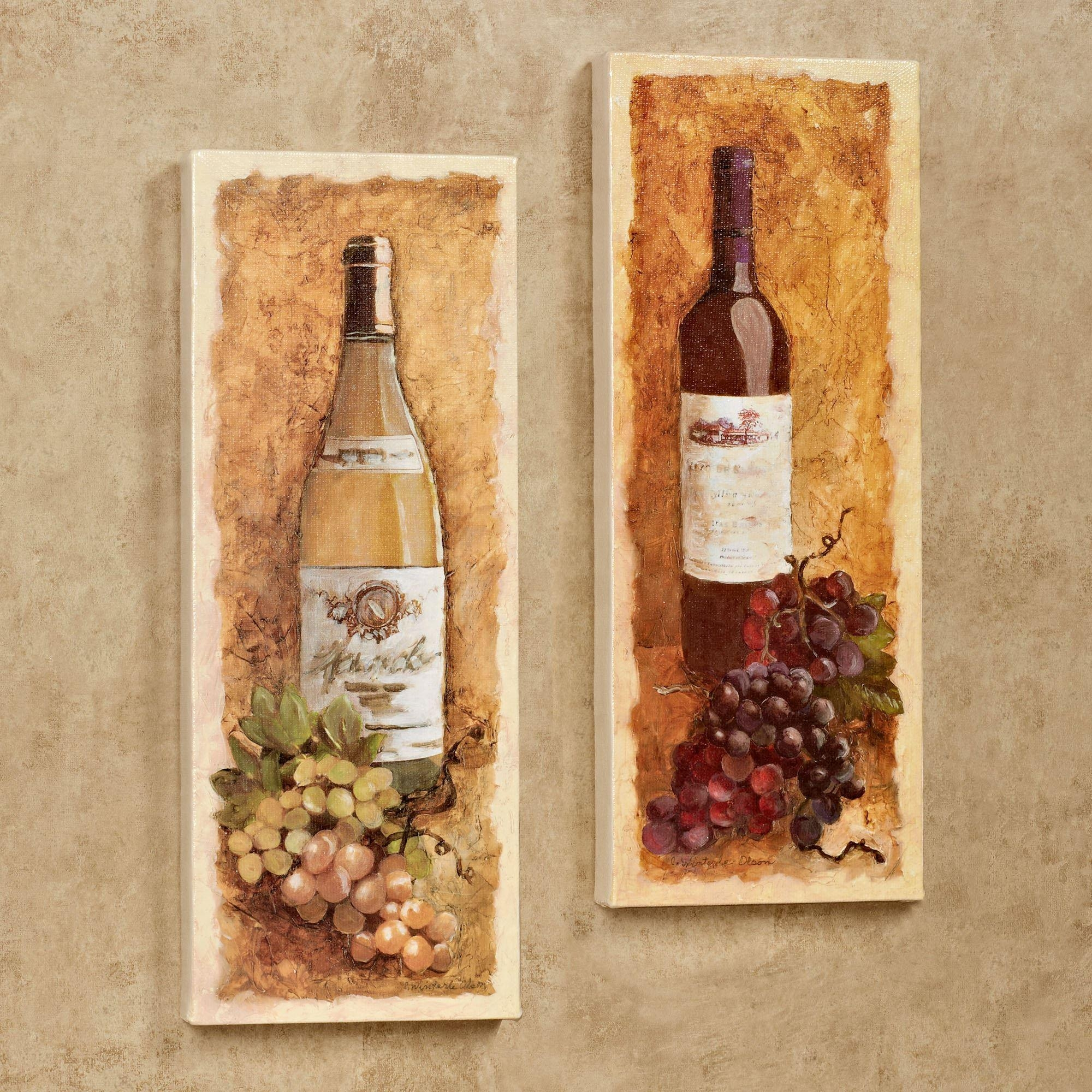 Merlot And Chardonnay Wine Canvas Wall Art Set Inside Wine And Grape Wall Art (Image 9 of 20)