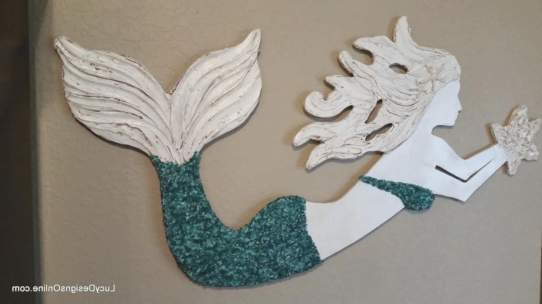 Mermaid Wall Art, Wood Mermaid With Crushed Glass Or Shells With Regard To Mermaid Wood Wall Art (Image 9 of 20)
