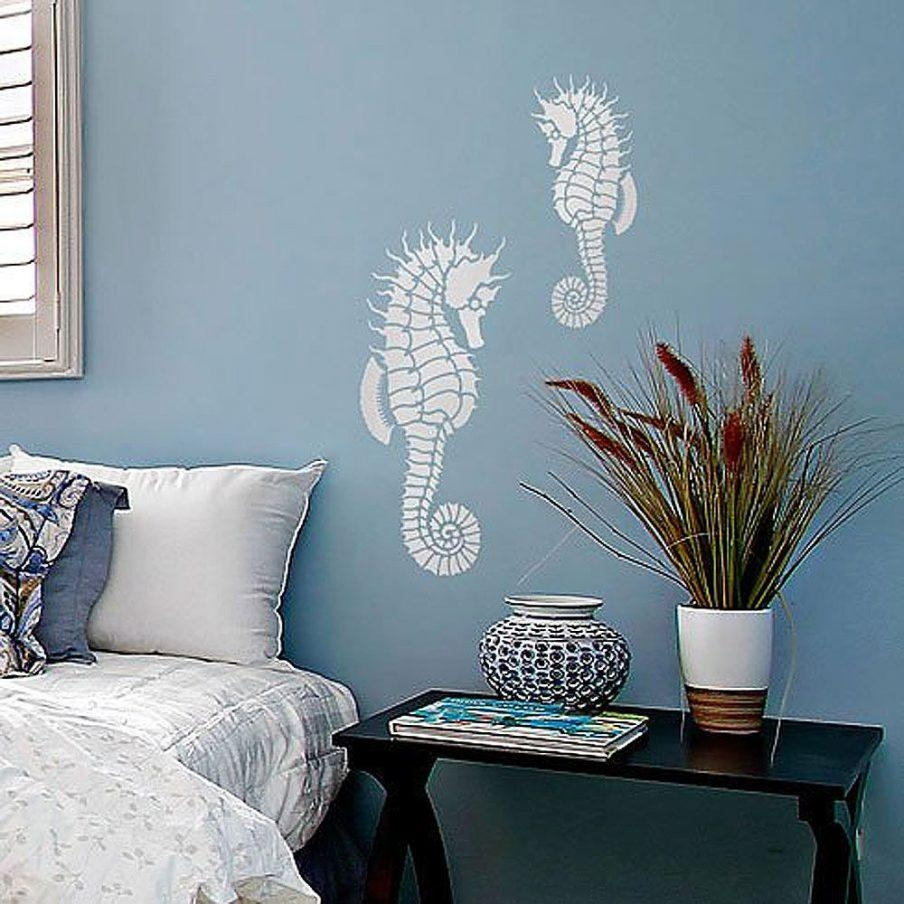 Mesmerizing Painting Stencils For Wall Art Uk Seahorse Wall Art Intended For Stencil Wall Art (Image 11 of 20)