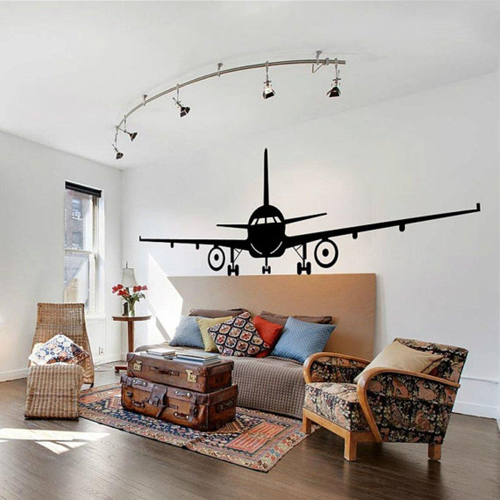 Metal Airplane Wall Decor : Airplane Wall Decor Stickers – Design Pertaining To Metal Airplane Wall Art (Image 7 of 20)