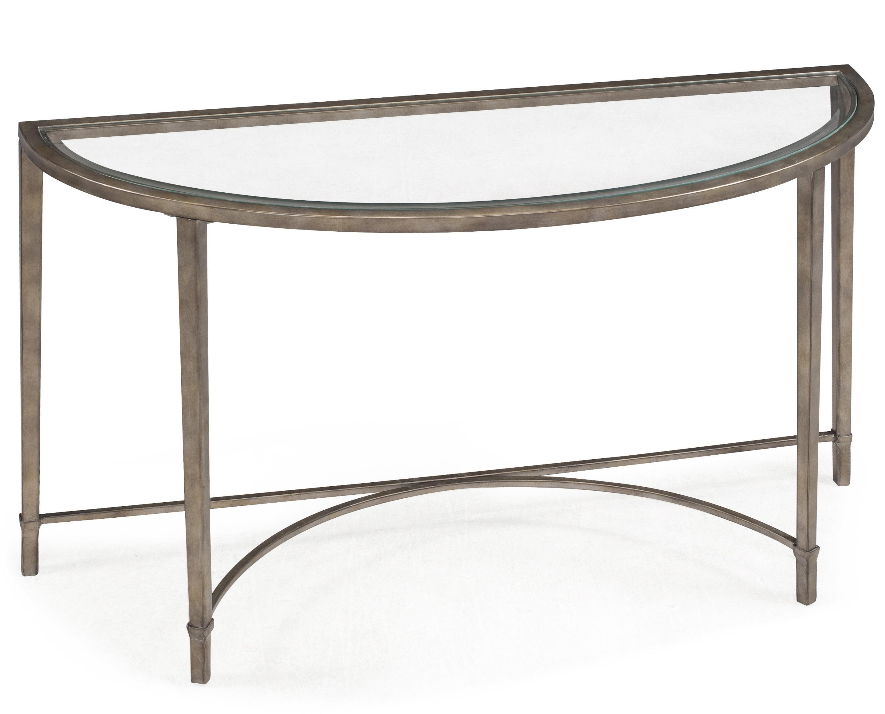 Metal And Glass Demilune Sofa Tablemagnussen Home | Wolf And Pertaining To Metal Glass Sofa Tables (Image 10 of 22)