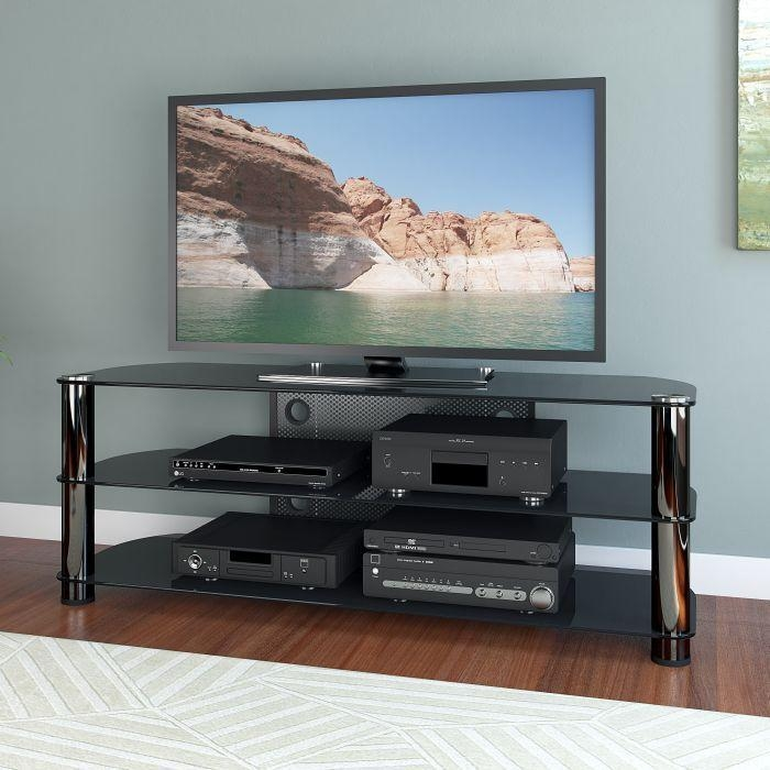 "Metal And Glass Open Shelves Tv Stand, For Tvs Up To 65"" In Current Open Shelf Tv Stands (Image 11 of 20)"