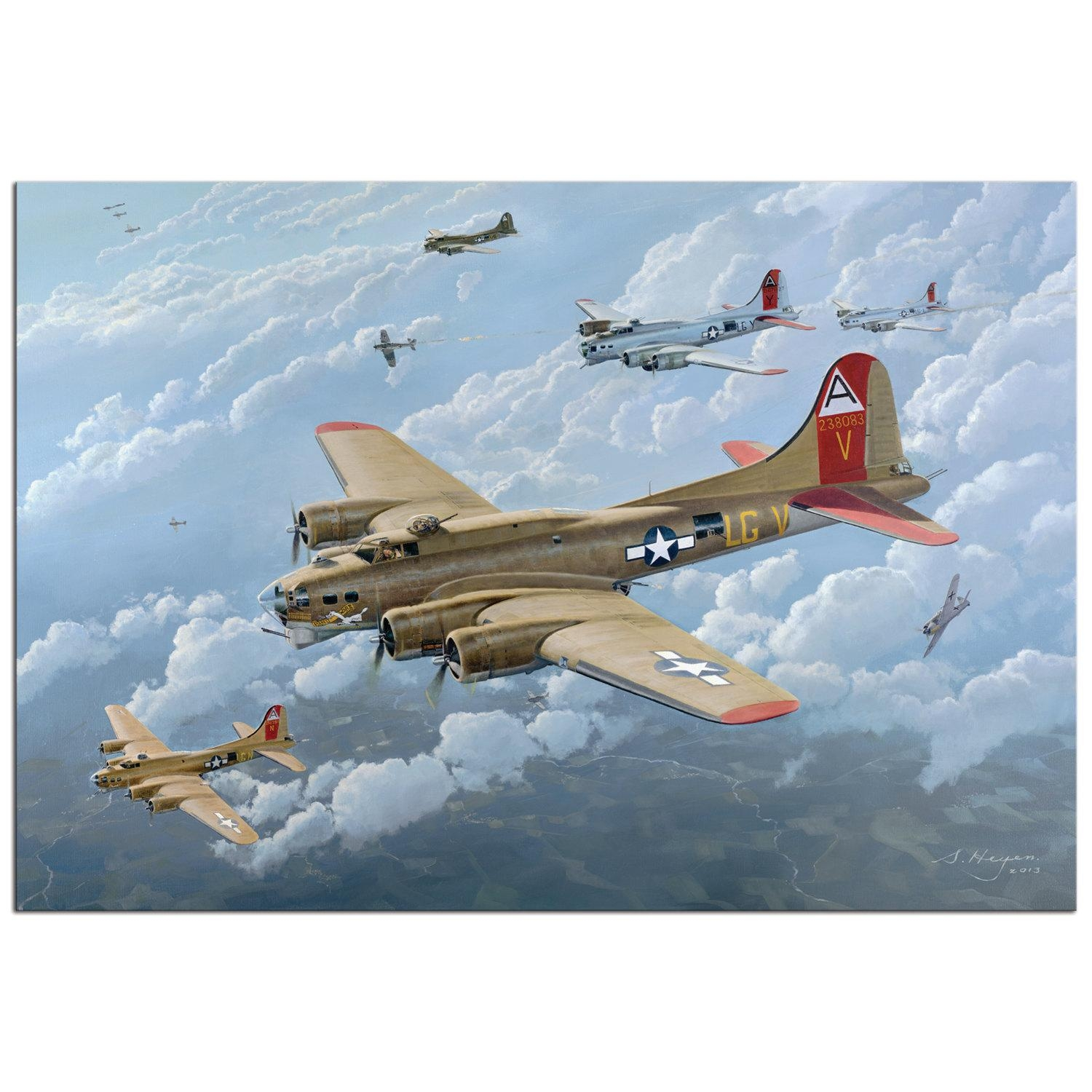 Metal Giclée Wwii B17 Bomber Painting World War 2 Aircraft Regarding Metal Airplane Wall Art (View 20 of 20)