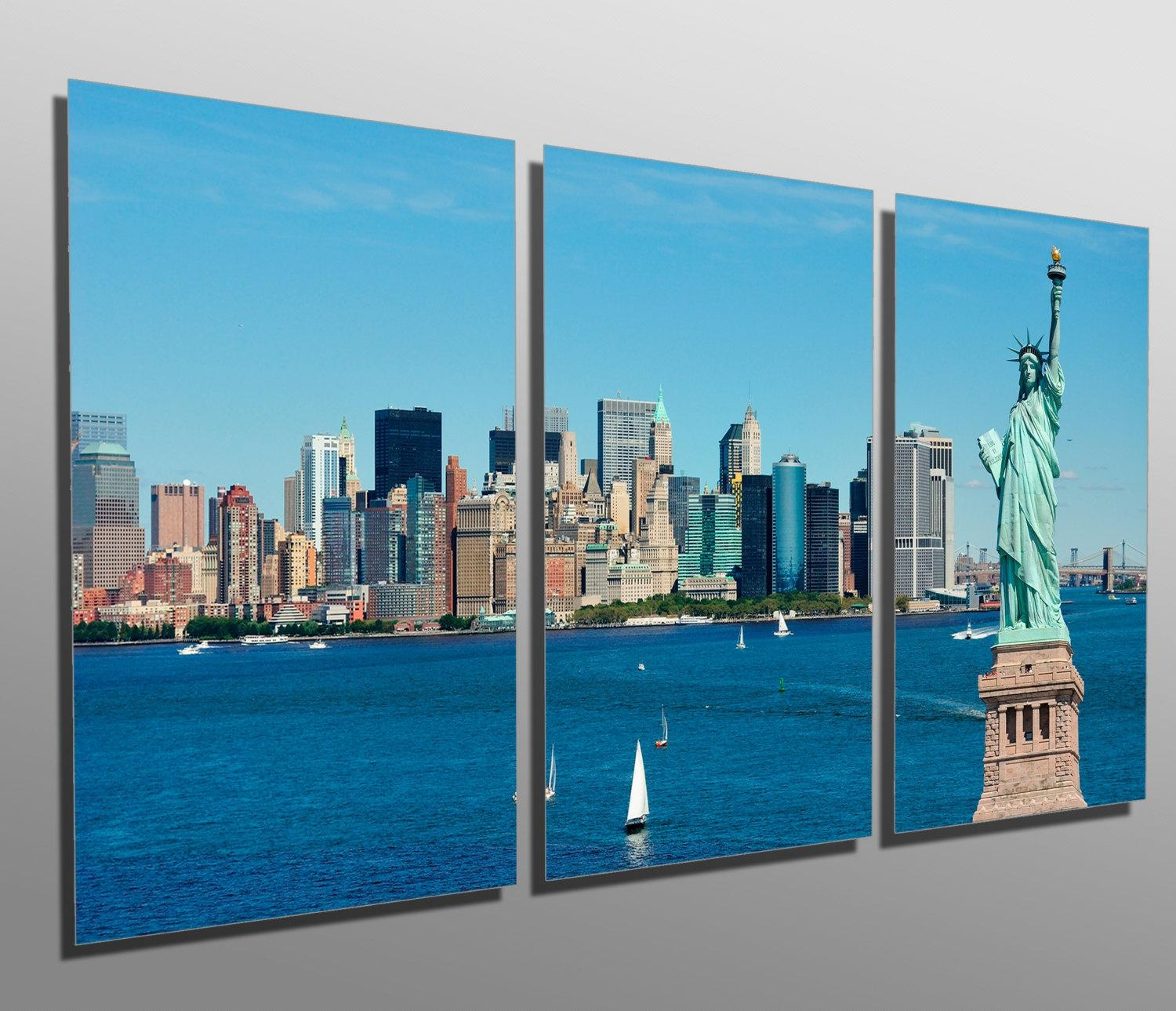 Metal Prints New York City Skyline 3 Panel Split Intended For Metal Wall Art New York City Skyline (Image 9 of 20)