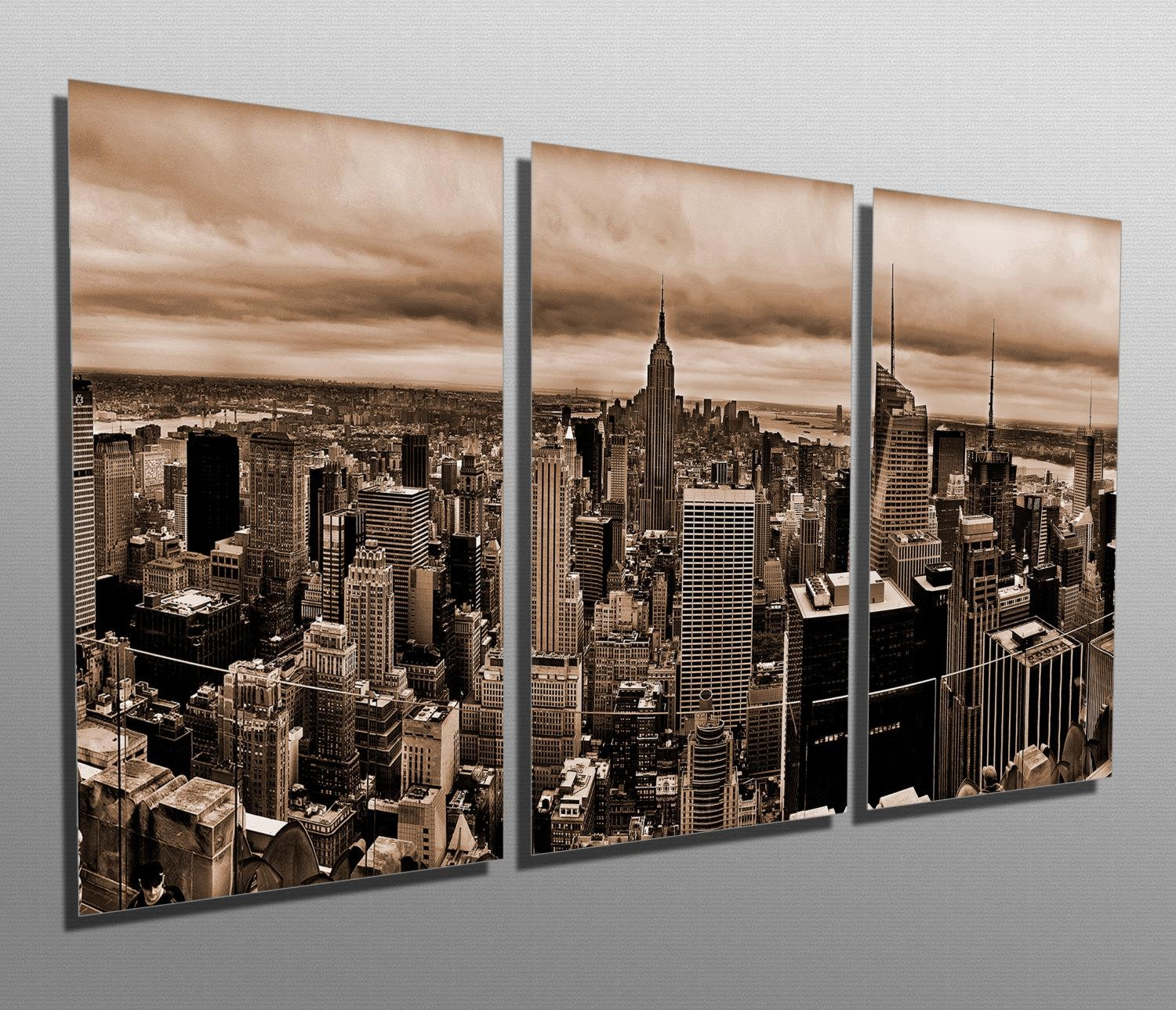 Metal Prints New York Skyline Sepia 3 Panel Split Inside Metal Wall Art New York City Skyline (Image 10 of 20)