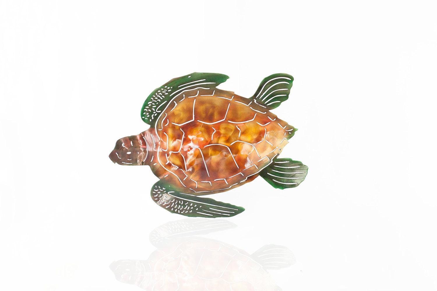 Metal Sea Turtle Wall Art, Aluminum Sea Turtle, Outdoor Art, Beach Intended For Sea Turtle Metal Wall Art (View 18 of 20)