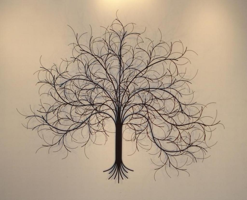 """Metal Wall Art Olive Tree 24"""" Tree Of Life Contemporary Accent Inside Iron Tree Wall Art (Image 10 of 20)"""