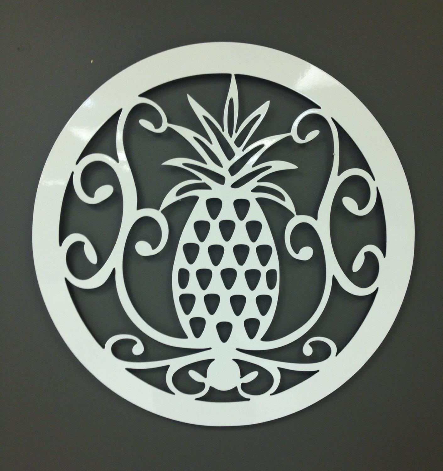 Metal Wall Art Pineapple Welcome Symbol 24 Regarding Pineapple Metal Wall Art (Image 11 of 20)