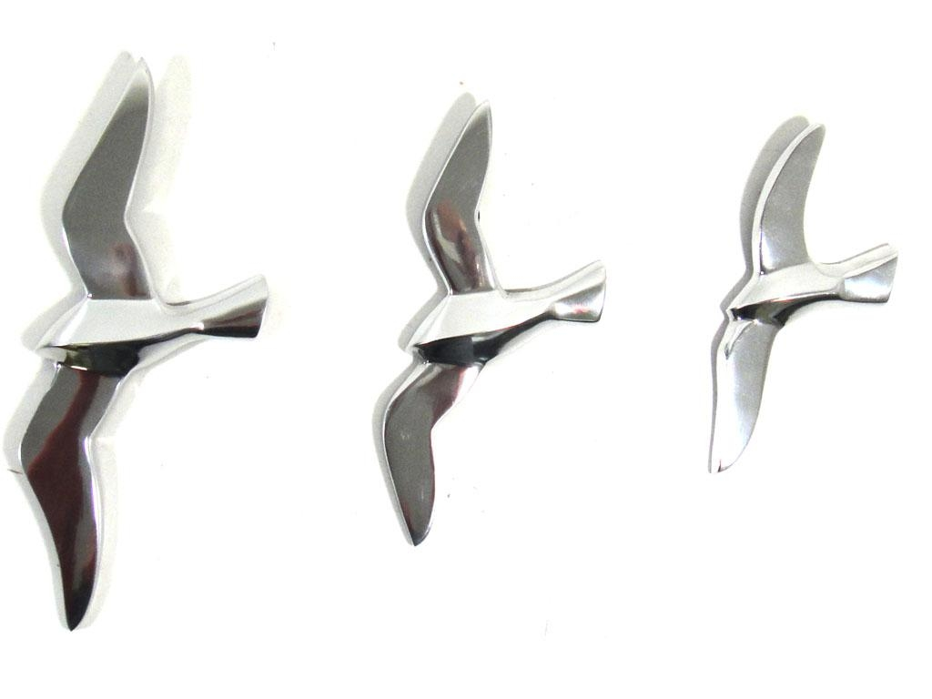 Metal Wall Art – Set Of 3 Flying Seagull Birds Within Metal Flying Birds Wall Art (Image 8 of 20)