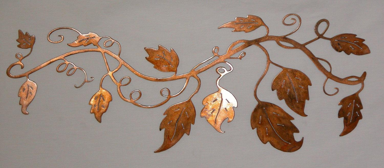 Metal Wall Art Vine With Leaf Design Inside Grape Vine Metal Wall Art (View 4 of 20)
