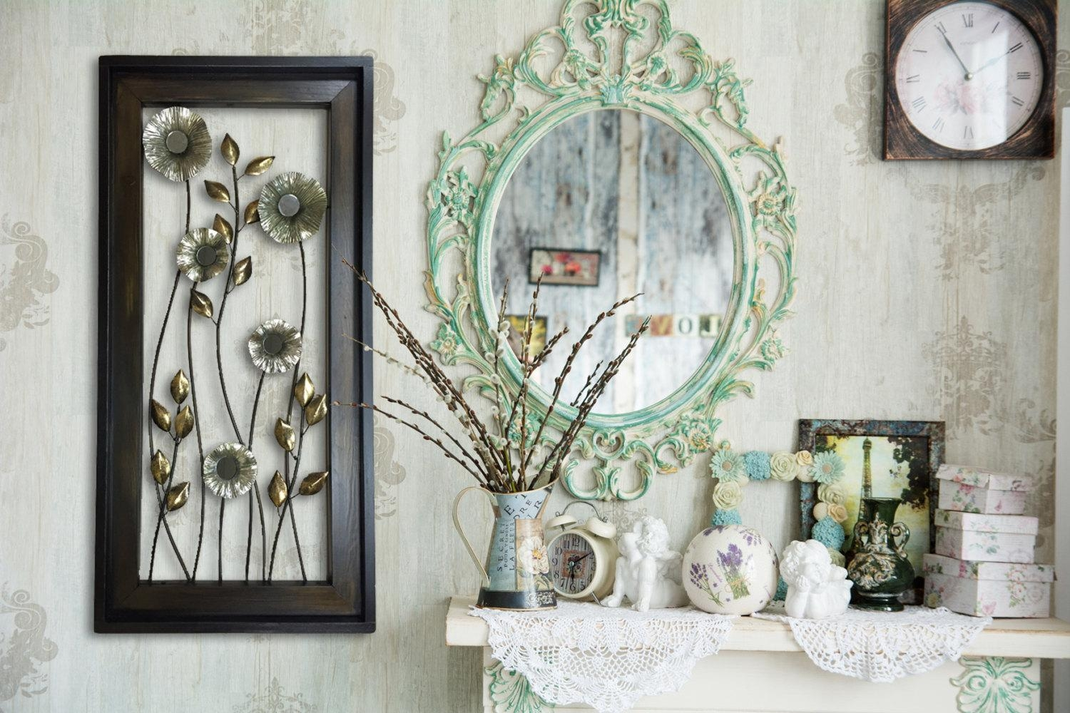 Metal Wall Art Wood Framed Flowers Mirrors Home Decor Large Pertaining To Copper Wall Art Home Decor (Image 12 of 20)
