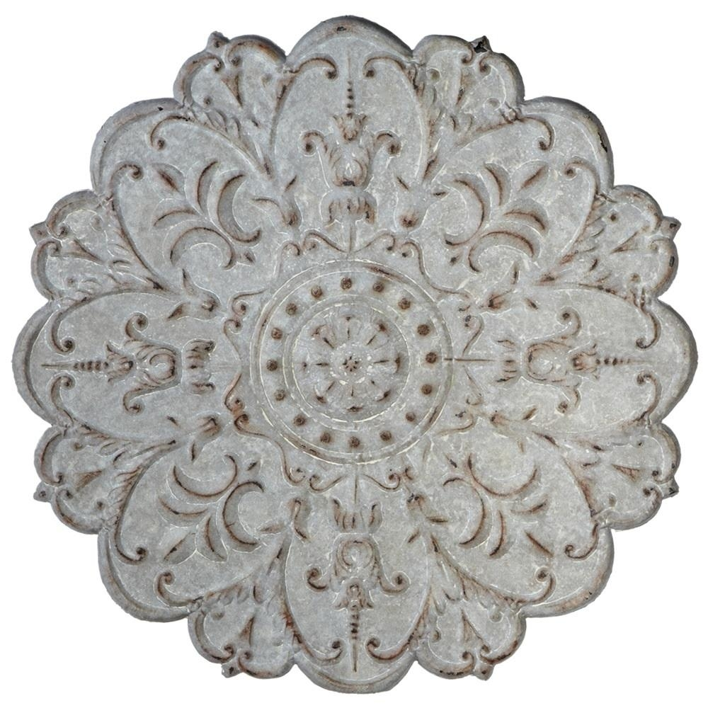 Metal Wall Medallion | Wall Art | Antique Grey | Distressed Pertaining To Metal Medallion Wall Art (Image 7 of 20)