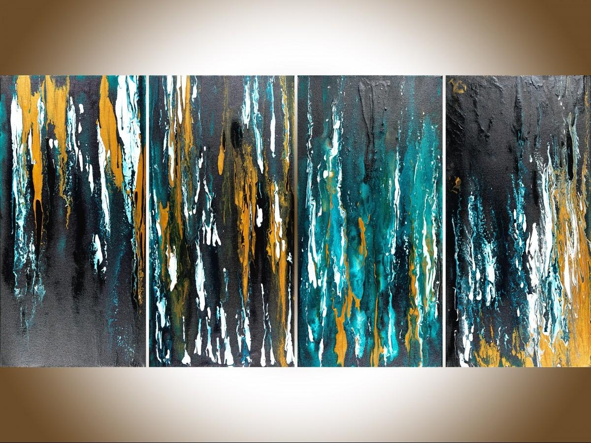 "Meteor Shower Iiqiqigallery 48""x24"" Original Modern Abstract With Regard To Teal And Black Wall Art (View 8 of 20)"