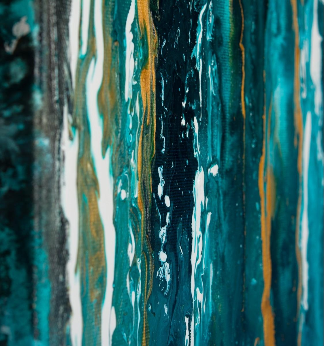 """Meteor Shower Iiqiqigallery 48""""x24"""" Original Modern Abstract With Teal And Black Wall Art (Image 12 of 20)"""
