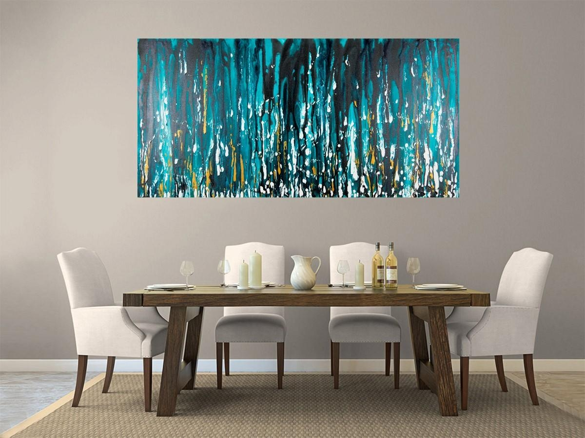 "Meteor Showerqiqigallery 48""x24"" Stretched Canvas Original In Black And Teal Wall Art (Image 13 of 20)"