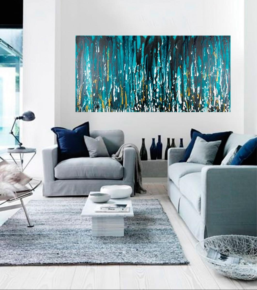 """Meteor Showerqiqigallery 48""""x24"""" Stretched Canvas Original Regarding Black And Teal Wall Art (View 17 of 20)"""