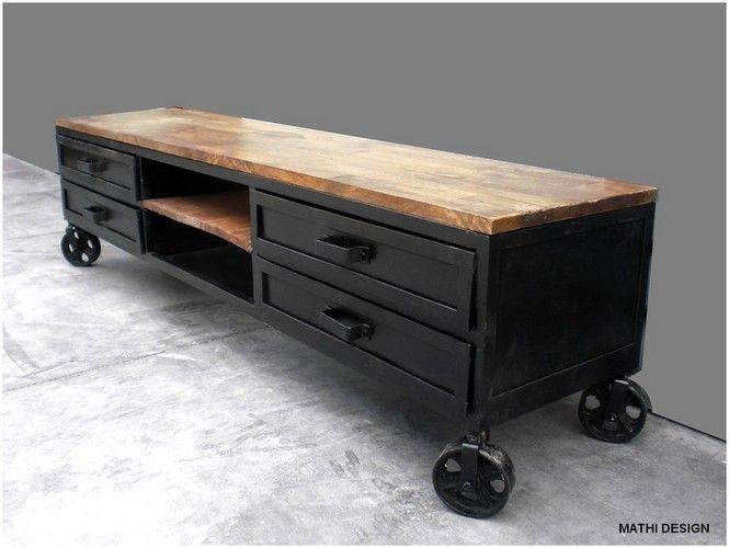 Meuble Tv Industriel | For The Home | Pinterest | Industrial, Tvs Throughout Best And Newest Industrial Style Tv Stands (Image 17 of 20)